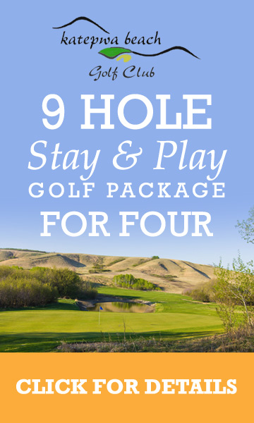 9 Hole 4 Person sundays log cabins stay and play promotion at katepwa beach golf club